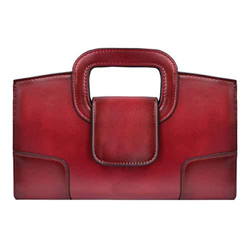 Buddy Top Handle Satchel Women Vintage Flap Tote Clutch Handbag Crossbody Shoulder Bag Purse (Red)