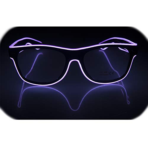 Glow Eye Glasses masks LED Light Up Glasses El Wire Glowing Party Rave Glasses For Halloween Luminous Night Costume Parties (Purple)]()