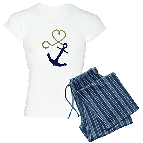 CafePress - Blue Anchor with Heart Rope Pajamas - Womens Novelty Cotton Pajama Set, Comfortable PJ Sleepwear]()