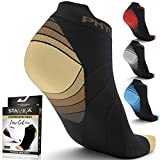 Compression Running Socks Men & Women - Best Low Cut No Show Athletic Socks for Stamina Circulation & Recovery - Durable Ankle Socks for Runners, Plantar Fasciitis & Cycling - 4 PAIRS BRN BLK L/XL