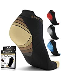 Physix Gear Compression Running Socks Men Women - Best Low Cut No Show Athletic Socks for Stamina Circulation & Recovery - Ultra Durable Ankle Socks Designed for Plantar Fasciitis, Cycling & Running
