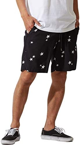 星柄 ショートパンツ メンズ 膝上 ハーフパンツ ショーツ 短パン スター レーヨン ブラック 黒 韓国ファッション サーフ系 ストリート系