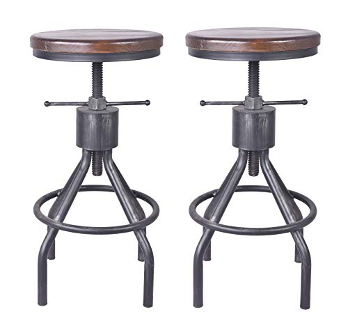 LOKKHAN Vintage Industrial Bar Stool-Height Adjustable Round Wood and Metal Swivel Bar Stool,Cast Iron Pub Height Stool,Assembly Not Required,22-34 inch(Set of 2)(Walnut Color)