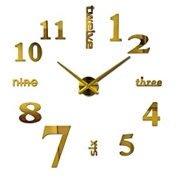 New 3D DIY Mirror Surface Wall Clocks Living&Meeting Room Decorative Wall Watches (Gold)