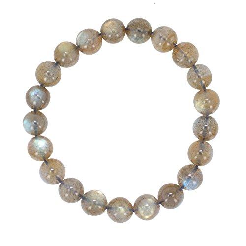 9mm Labradorite Gemstone Bead Stretch Bracelet by Luna Gem House