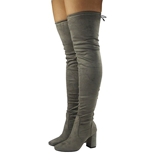 Womens Ladies Thigh High Over The Knee Long Lace Up Block Heel Boots Shoes Size 3-8 Grey yQWTF