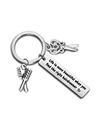 Hair Stylist Gifts Comb Charm Pendant Keychain Hairdresser Gifts Barber Appreciation Gift