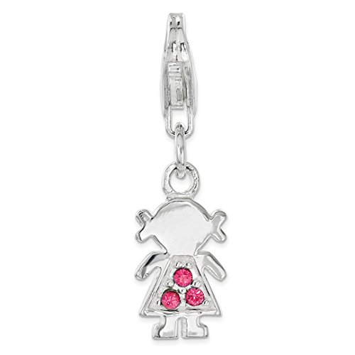 - 925 Sterling Silver Pink Crystal Little Girl Lobster Clasp Pendant Charm Necklace Kid Fine Jewelry For Women Gift Set