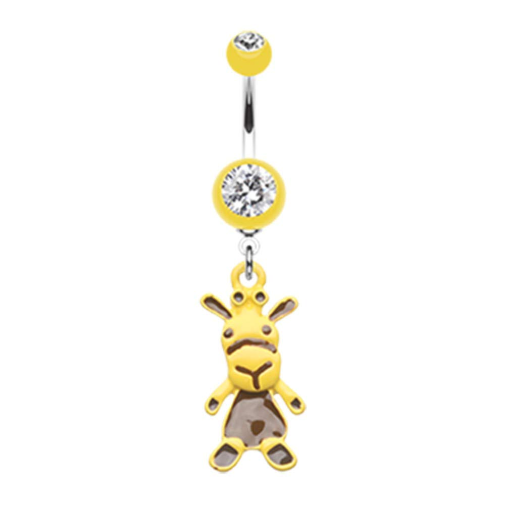 14 GA Yellow Giraffe Belly Button Ring 316L Surgical Stainless Steel Body Piercing Jewelry For Women and Men Davana Enterprises