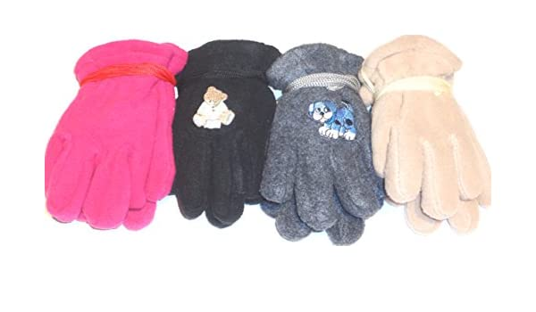 Four Pairs Mongolian Fleece Gloves for Infants Ages 6-24 Months