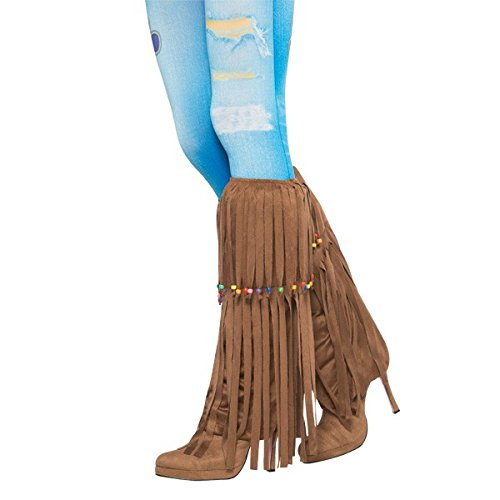 [Amscan Groovin '60s Costume Party Hippie Beaded Leg Warmers (2 Piece), One Size, Brown] (60s Dress Up Costumes)