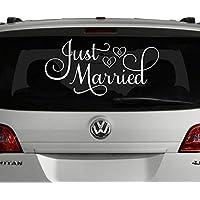 "VinylWritten, Just Married Car Decal, White 24""W x 12""H, Just Married Window Sticker"