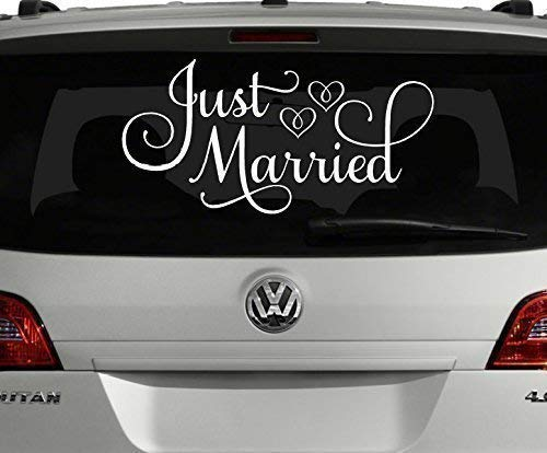 (VinylWritten, Just Married Car Decal, White 24