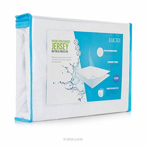 Lucid Super Soft Rayon From Bamboo Jersey Mattress Protector Waterproof Dust Mite Protection Queen