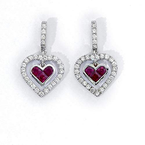 981224077 Image Unavailable. Image not available for. Color: 18k white gold Ruby  Heart Shaped Invisible setting Diamond Dangle Earrings