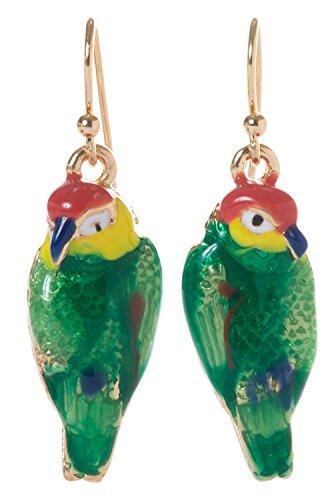 Artisan Owl - Parrot Colorful Enamel Dangle Earrings