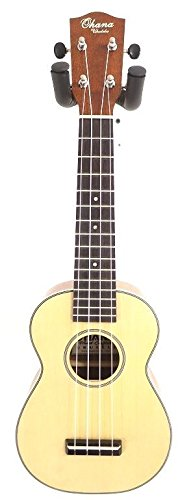 Ohana Model SK-16B Soprano Size Ukulele Spruce Top and Spalted Birch Body