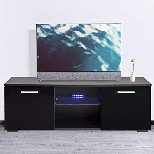 Black Gloss High Tv - Joolihome 47 inch TV Stand Cabinet Black High Gloss TV Console Cabinet Shelves Entertainment with 2 Drawers LED Lights 47-inch TV Screen White/Black Wood Glass Living Room/Bedroom Furniture Set
