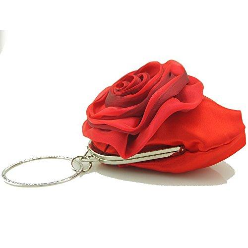 Flower Rose Womens Clutch Handbag Muticolor Ruiatoo Clutch Evening Money Purse Party Red w1U7Eq