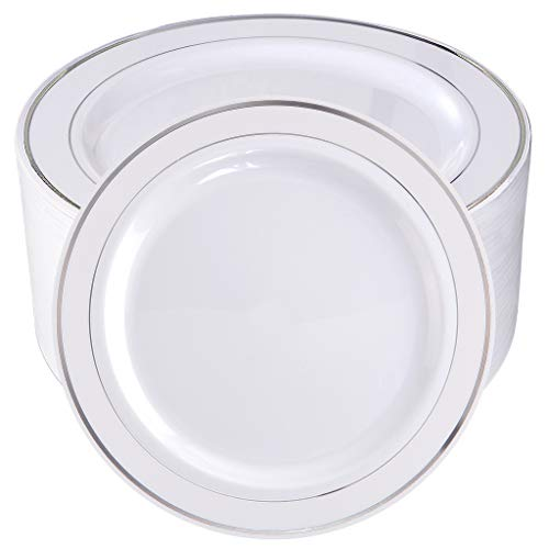 BUCLA 100Pieces Silver Plastic Plates-10.25inch Silver Rim Disposable Dinner Plates-Ideal for Weddings& Parties ()