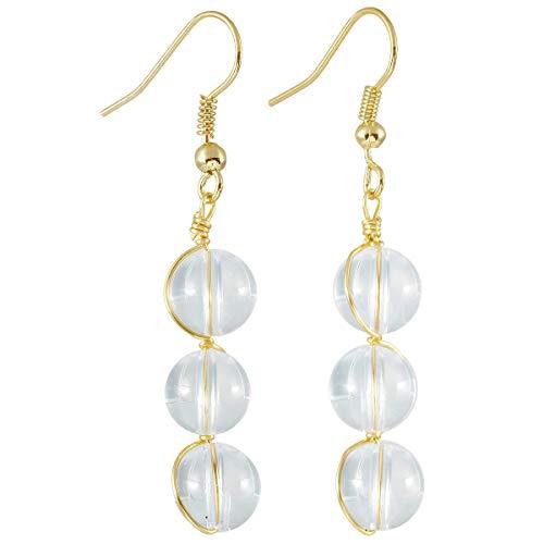 - TUMBEELLUWA Stone Dangle Earrings Healing Crystal Beads Copper Wire Wrapped Hook Drop Earring Handmade Jewelry for Women,Rock Quartz