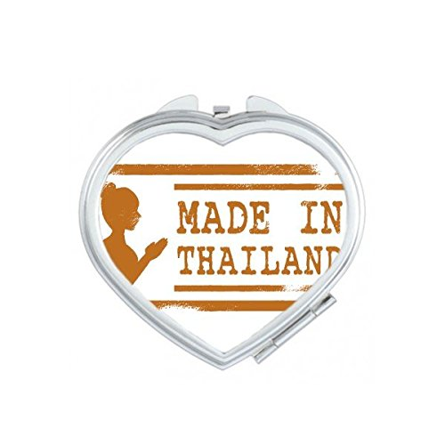 Kingdom of Thailand Thai Traditional Customs Make In Thailand Buddha Art Illustration Heart Compact Makeup Pocket Mirror Portable Cute Small Hand Mirrors by DIYthinker