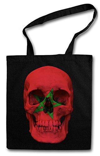 CLASSIC MOROCCO SKULL FLAG Hipster Shopping Cotton Bag Cestas Bolsos Bolsas de la compra reutilizables - Bandera cráneo Schädel Banner Fahne Marokko Marruecos
