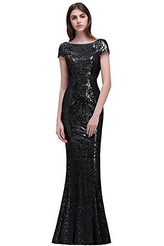 MisShow Women Sparkly Long Sequins Bridesmaid Dress Prom/Evening Gowns Black ()
