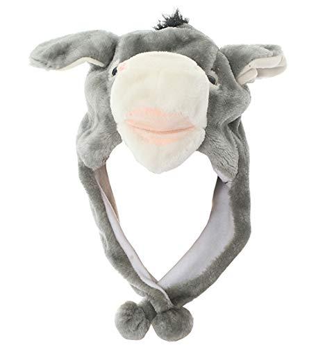 Joyhy Unisex Winter Plush Ear Flap Animal Hats Grey Donkey -
