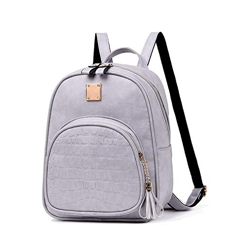 Backpacks Woman Mini PU Leather Backpack Bookbag Gift Backbag Backpack For Girls,Gray,23X10X29cm