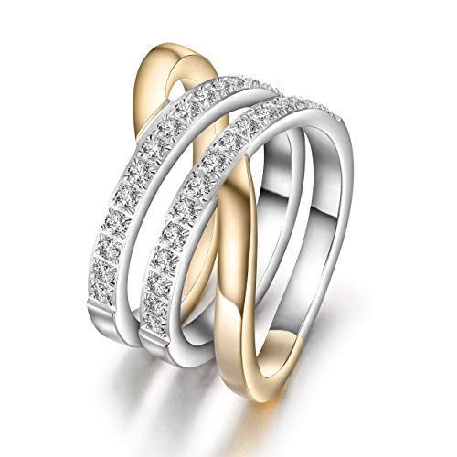 JINBAOYING Gold Rings for Women Girls Statement Fashion Rings Cubic Zirconia Rings Wide Band Cocktail Engagement Promise Rings Jewelry Gift for Women Girls