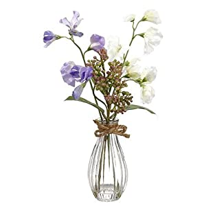 "1pc, Artificial Purple Sweet Pea Arrangement in Vase - 13"" Tall 22"