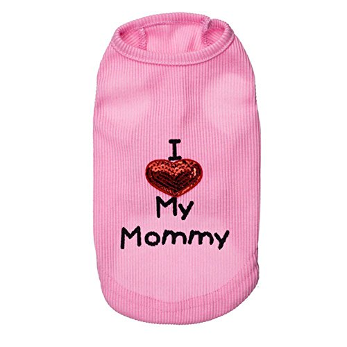 (Rdc Pet I Love My Mommy & Daddy' Dog shirts, shirt Cotton Tank Top Summer Dog Vest for Samll Dog & Medium Dog & Cat (Pink) (Love Mommy, L))