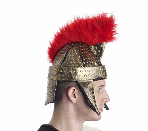 [Roman Gladiator Spartan Fabric Adult Helmet With Red Faux Fur Crest] (Trojan Halloween Costumes)