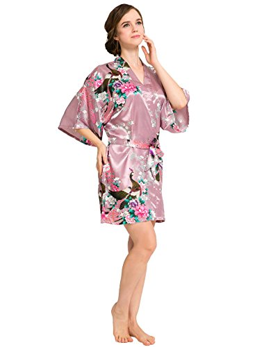 Women's Peacock Kimono Robe SR-13 with A Free Gift (Extra $10 Value) (X-Small, Cameo Brown) -