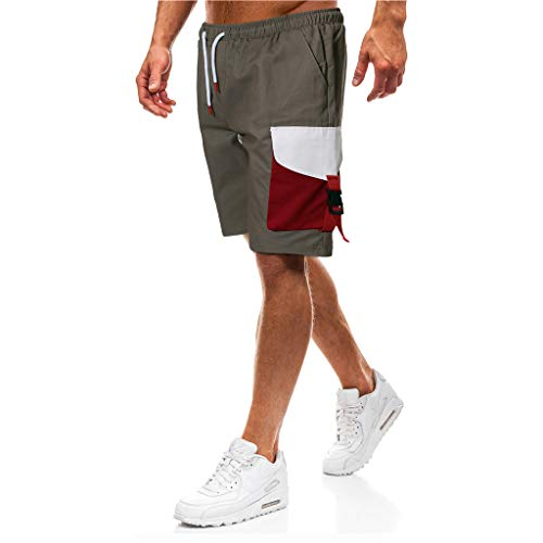 Men's Casual Shorts Cotton Elastic Waist Lightweight Drawstring Beach Multi-Pocket Cargo Shorts (XXXL, Gray)