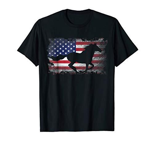 Horse T Shirt American Flag USA Patriotic Horse Gift