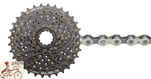 Price comparison product image SHIMANO CS-HG31 Hyperglide 8 Speed 11-34T Bicycle Cassette w/KMC X8.93 Chain