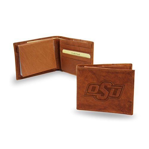NCAA Oklahoma State Cowboys Embossed Genuine Leather Billfold Wallet (Oklahoma State Brown Leather)