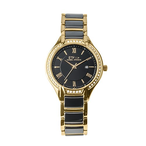 Daniel Steiger Monaco Black Ceramic And Yellow Gold Plated Steel Luxury Ladies Watch - Crystal Studded Bezel - Scratch Resistant Ceramic - Water Resistant