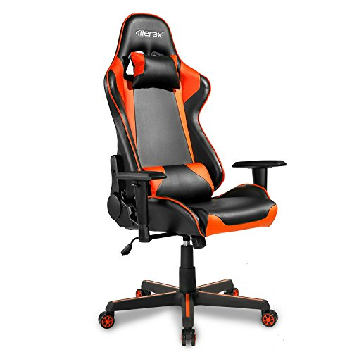 Merax Office Chair Executive Racing Gaming Chair Swivel PU Leather Chair with Adjustable Armrests (black and orange) by Merax