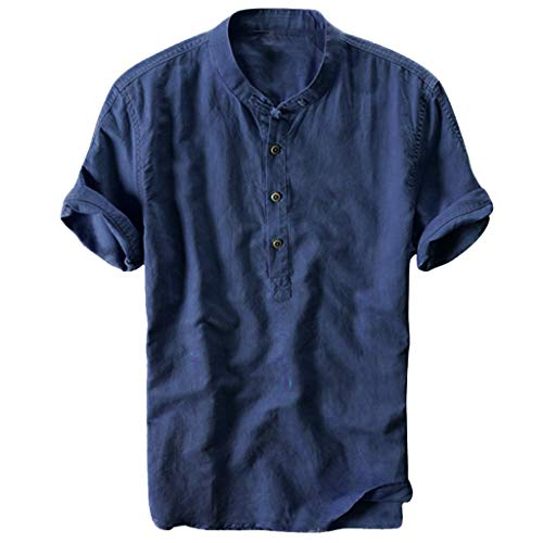 Shirt for Men, SFE Summer Men's Cool and Thin Breathable Collar Hanging Dyed Gradient Cotton Shirt Navy]()
