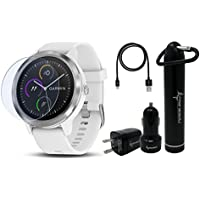 Garmin Vivoactive 3 GPS Smartwatch with Touchscreen Display and Contactless Payments Feature and Wrist-based Heart Rate and Wearable4U Ultimate Power Pack Bundle (White/Stainless)