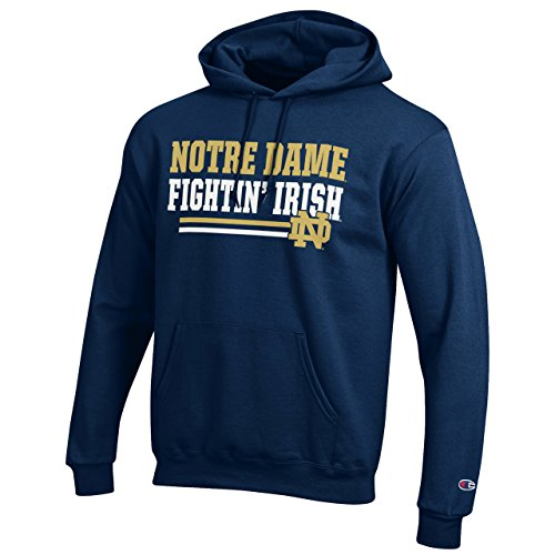 Champion Notre Dame Fighting Irish Adult Block Hooded Sweatshirt - Navy, X-Large