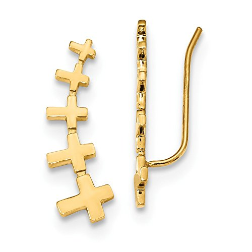 Top 10 Jewelry Gift 14k Gold Cross Polished Bar Earrings by Jewelry Brothers Earrings