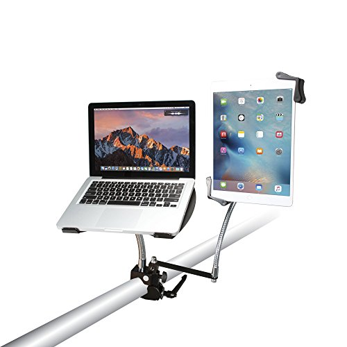 CTA Digital PAD-DLT Heavy-Duty Dual Gooseneck Clamp Stand with Laptop and Tablet Holders, 7-13