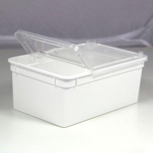 BraPlast Dose 1,3 Liter 18,5 x 12,5 x 7,5 cm - weiß mit transparentem Deckel / Kunststoff Stapelbox