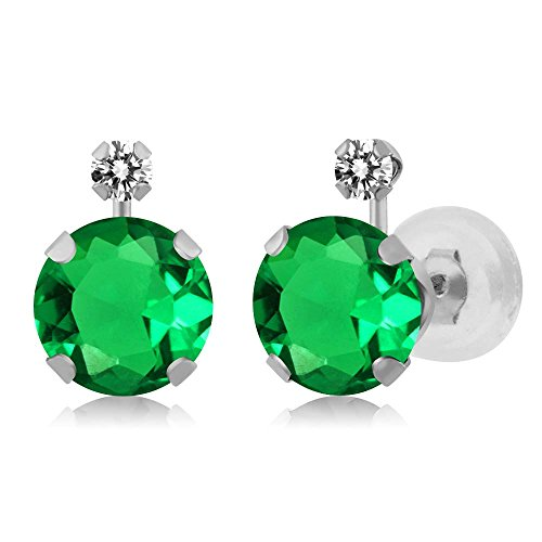 (Gem Stone King 1.61 Ct Round Green Nano Emerald White Diamond 14K White Gold Earrings)