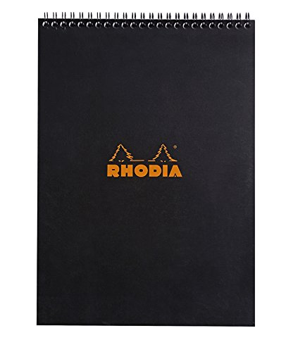 (Rhodia Wirebound Notepads - Lined 80 sheets - 8 1/4 x 11 3/4 in. - Black cover)