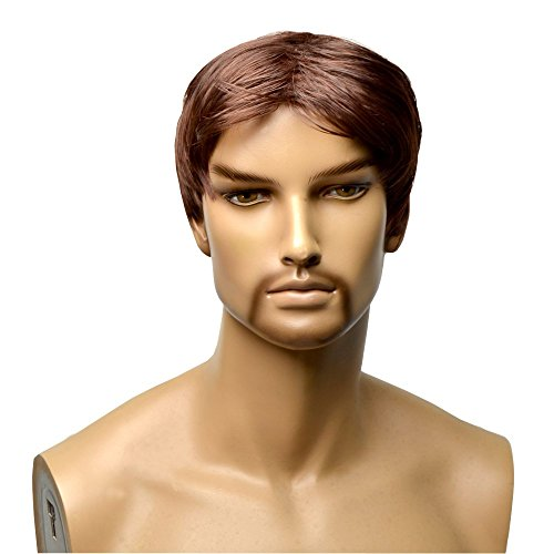 GOOACTION Short Curly Wigs For Men Dark Brown Wavy Wig Lace front Synthetic Hair Costume Wig Heat Resistant Fiber Charming Replacement Toupee